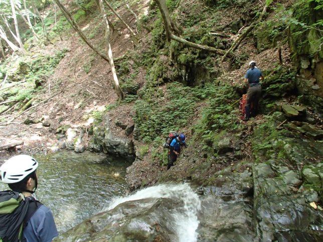 水はきれいだけど、赤っぽい苔のついた岩はつるつるでした。